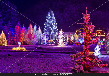 Christmas fantasy - park & forest in xmas lights stock photo, Christmas fantasy - park & forest in xmas lights, Croatia by xbrchx
