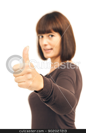 thumb up woman stock photo, An image of a woman with thumb up by Markus Gann