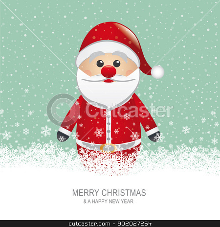 santa claus snowflake background stock vector clipart, santa claus with hat snow snowflake background by d3images