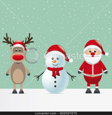 santa claus reindeer and snowman stock vector clipart, santa claus reindeer and snowman winter snowy by d3images