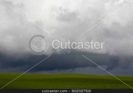 Storm Clouds Saskatchewan stock photo, Storm Clouds Saskatchewan agriculture field prairie crop by Mark Duffy