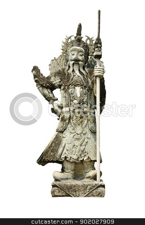 The ancient Chinese warrior statues stock photo, The ancient Chinese warrior statues white background. by chatchai