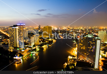 Bangkok City Night, Thailand. stock photo, City center of Bangkok Thailand at night. by chatchai