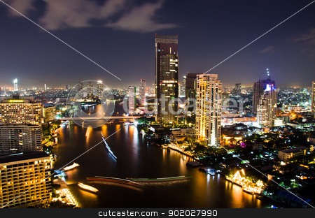 Bangkok City Night, Thailand. stock photo, City center of Bangkok Thailand at night. by chatchai