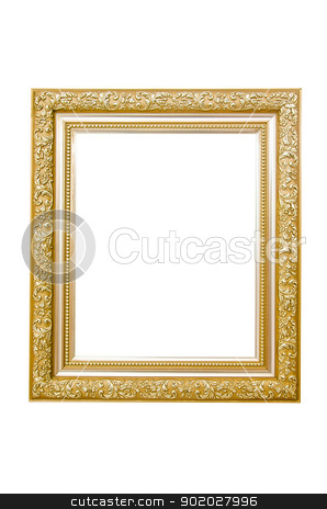 Gold picture frame. stock photo, Gold picture frame on white background. by chatchai