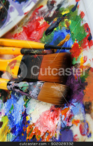 Art palette stock photo, Art palette and brushes with a lot of colors       by Tatiana Mihaliova