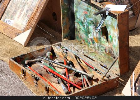 Art brushes in the old suitcase stock photo, Art on the street  art brushes in the old suitcase by Tatiana Mihaliova