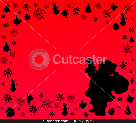 Red background with Santa Claus and symbols of Christmas silhouette layered  stock vector clipart, Red background with Santa Claus and symbols of Christmas silhouette layered  by Tijana Mihajlovic