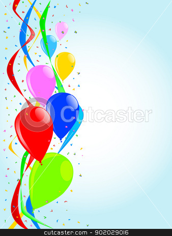 Party Balloons stock vector clipart, Balloons rising up against a background of ribbons and confetti by Kotto