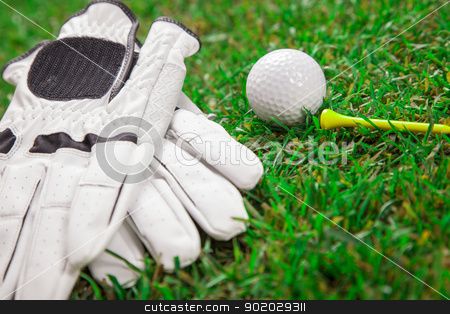 Let's play a round of golf! stock photo, Golf ball on the green grass. Studio Shot! by fikmik