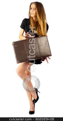 Sexy police woman stock photo, Young beautiful police woman with suitcase. Isolated on white by Aikon
