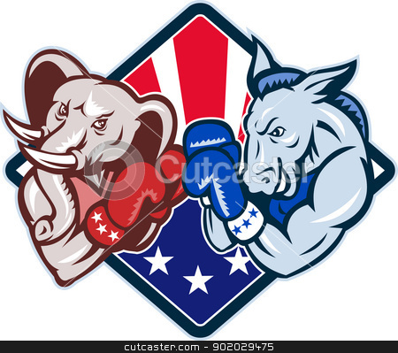 Democrat Donkey Republican Elephant Mascot Boxing stock vector clipart, Illustration of a democrat donkey mascot of the democratic grand old party gop and republican elephant boxer boxing with gloves set inside diamond with American stars and stripes flag done in cartoon style. by patrimonio