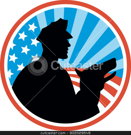 Policeman Security Guard With Police Dog Retro stock vector clipart, Illustration of a policeman security guard with police dog with American stars and stripes set inside circle done in retro style. by patrimonio
