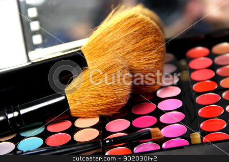 Professional makeup palette and brushes stock photo, Big set of professional cosmetic  by Tatiana Mihaliova