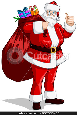 Santa Claus With Bag Of Presents For Christmas stock vector clipart, A vector illustration of Santa Claus holding a huge bag full of presents for Christmas. by Liron Peer