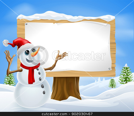 Christmas Snowman and Winter Sign stock vector clipart, Christmas snowman with Santa hat in snowy landscape with sign by Christos Georghiou