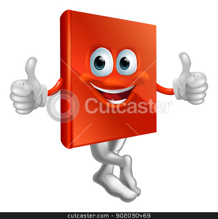 Illustration of red book character stock vector clipart, A cartoon illustration of a red book character giving a thumbs up by Christos Georghiou