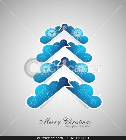 merry christmas stylish tree colorful blue Vector design stock vector clipart, merry christmas stylish tree colorful blue Vector design by bharat pandey
