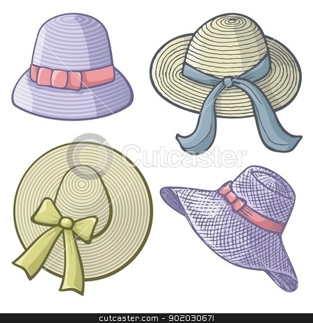 Women hats stock vector clipart, Collection of women's hats isolated on white background. by fractal.gr