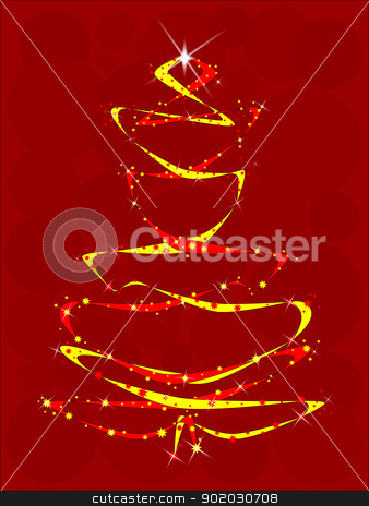 Red and Yellow Ribbon Tree stock vector clipart, A christmas tree somprising of ribbons and stars. by Kotto
