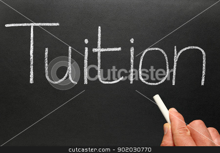 Tuition, written on a blackboard. stock photo, Tuition, written on a blackboard. by Stephen Rees