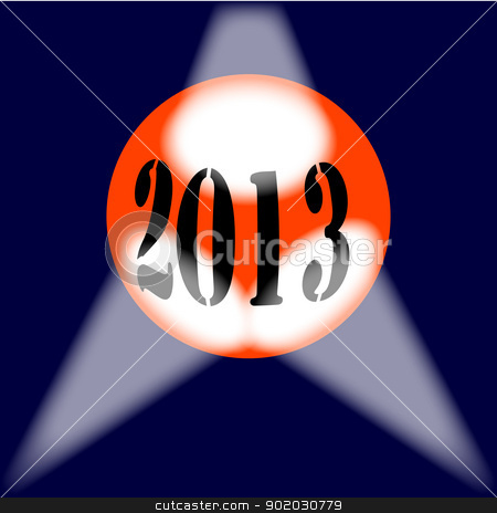 2013 Globe stock vector clipart, A spotlit globe with the year 2013 in large numbers. by Kotto
