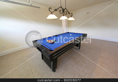 Pool Table stock photo, A pool table in a garage in Florida by Lucy Clark