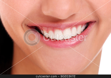 Closeup of beautiful woman smile stock photo, Closeup of beautiful woman smile with white teeth by yekostock