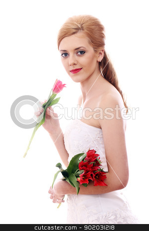 Young bride smelling red rose stock photo, Portrait of young bride smelling red rose by yekostock