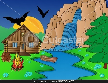 Cabin and falls stock vector clipart, Cabin and falls - vector illustration. by connynka