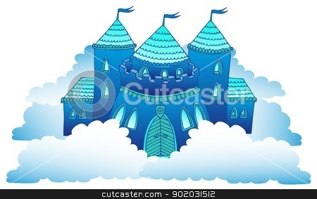 Castle on clouds stock vector clipart, Castle on clouds - vector illustration. by connynka