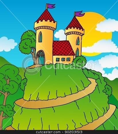 Castle on hill stock vector clipart, Castle on hill - vector illustration. by connynka
