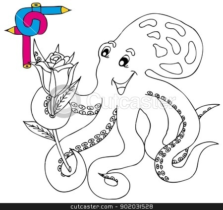 Coloring image octopus stock vector clipart, Coloring image octopus - vector illustration. by connynka