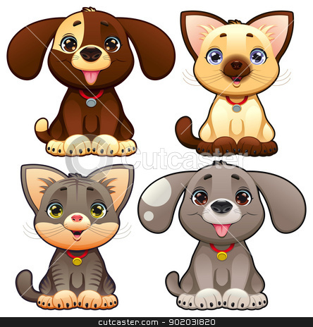 Cute dogs and cats. stock photo, Cute dogs and cats. Funny cartoon and vector animal characters, isolated objects. by ddraw