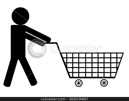 Men with shopping basket  stock vector clipart, Men with shopping basket illustrated on white background by Iliuta