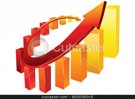 Business graph  stock vector clipart, Statistic charts, surrounded by 3d  arrow by monicaodo