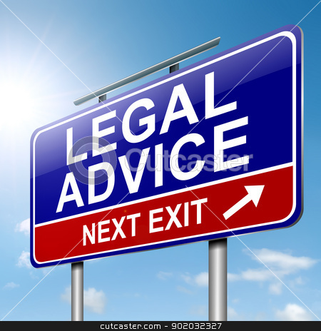 Legal advice. stock photo, Illustration depicting a roadsign with a legal advice concept. Sky background. by Samantha Craddock