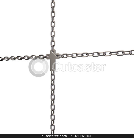 christian cross stock photo, christian cross in chains - 3d illustration by J?