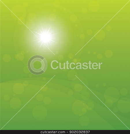 Bright Sun Burst Green Background stock vector clipart, Sun Shining on green background vector illustration. by antkevyv