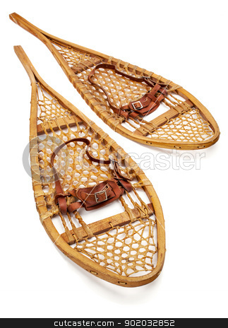 vintage Huron snowshoes stock photo, vintage wooden Huron snowshoes with leather binding on white by Marek Uliasz