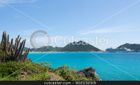 Pipe cactus frames view of Philipsburg stock photo, Pipe cactus plants on headland of Fort Amsterdam overlooking Philipsburg Sint Maarten by Steven Heap