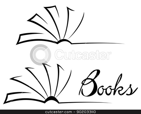 Book symbol stock vector clipart, Black open book isolated on white by Oxygen64