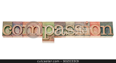 compassion word in wood type stock photo, compassion - isolated word in vintage letterpress wood type stained by color inks by Marek Uliasz