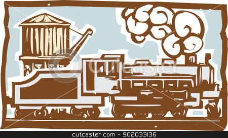 Locomotive and Water tower stock vector clipart, Woodcut style image of a locomotive train with a railroad water tower. by Jeffrey Thompson