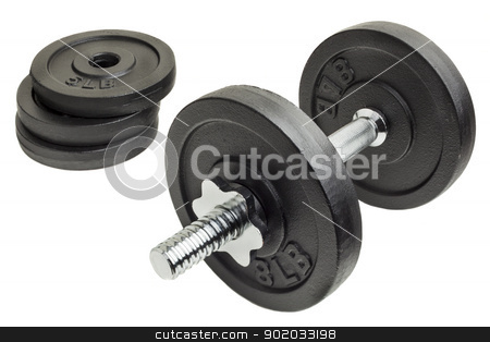 dumbbell and plates stock photo, cast iron dumbbell and weight plates isolated on white background by Marek Uliasz