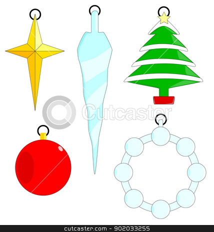 Christmas Ornaments stock vector clipart, A collection of five Christmas Tree ornaments isolated on a white background. by Kotto