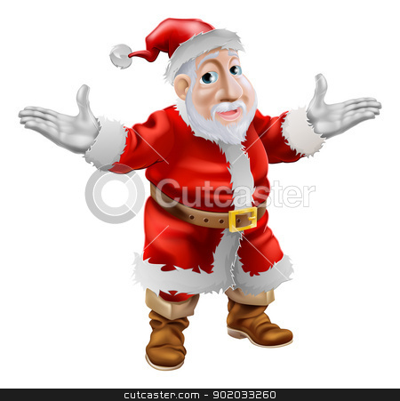 Happy cartoon Santa stock vector clipart, A happy cartoon Christmas Santa Claus standing with his arms outstretched by Christos Georghiou