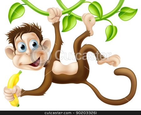 Monkey swinging with banana stock vector clipart, A cute monkey swinging from vines with a banana in his hand by Christos Georghiou