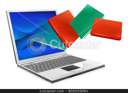 Laptop books education or ebook concept stock vector clipart, Laptop computer with books flying out of screen. Online education or ebook concept by Christos Georghiou