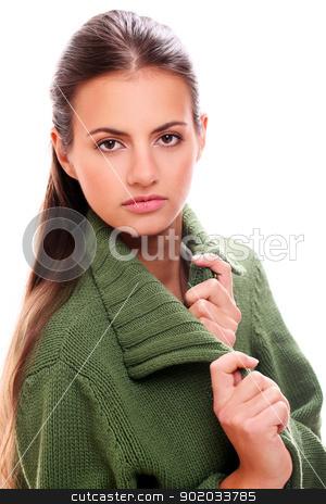 Portrait of beautiful woman stock photo, Portrait of beautiful woman with long hair by yekostock
